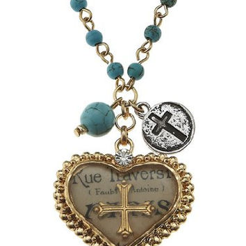 Gold Cross Artisan Epoxy Charm Necklace, Turquoise Beads, Heart Charm