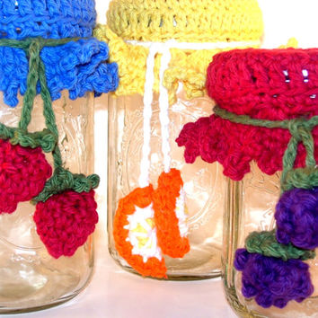Canning Jar Toppers with Fruit Ties Hand Crochet Mason Jar Lid Cozy Gift Cotton