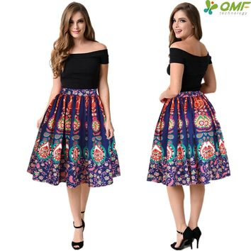 Navy Peacock Feather Women's Sports Skirt Flared High Waist Midi Tennis Skirts Pleated Swing Party Beach Skirts Digital Printing