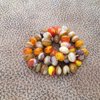Czech Beads, Faceted, Fire Polished, 8 by 6mm, Caramel, Fudge, Tangerine, Lemon, Warm Colors, Beading, Jewelry Making, Crafting, Destash