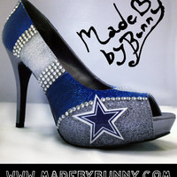 Made to Order Dallas Cowboys NFL Football Crystal Rhinestone Glitter Stiletto / Pumps / Heels / Closed Peep or Open Toe Sexy Sports Shoes