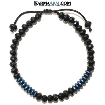 WARRIOR | Black Onyx | Blue Hematite Macrame Adjustable Pull Tie Bracelet