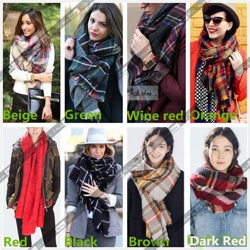 Lady Women Hot Wool Blend Blanket Oversized Tartan Scarf Wrap Shawl Plaid Checked Pashmina = 1957832452
