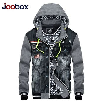 JOOBOX 2017 Spring Autumn Denim Jacket Men Patchwork Fashion Motorcycle Jackets Coats Male Zipper Pockets Hooded Men's Clothing
