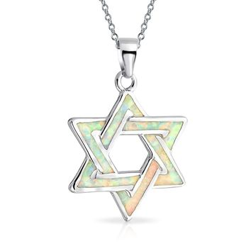 Star David Jewish Pendant White Created Opal Necklace Sterling Silver