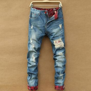 Men's Jeans Destroyed Retro Ripped Slim Hole Straight Light
