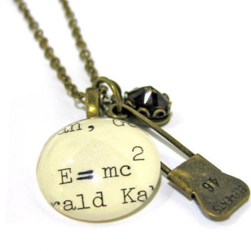Relativity E MC2 Einstein Librarian Necklace Brass Elements Pin Chocolate Brown Crystal XL Nerd Jewelry