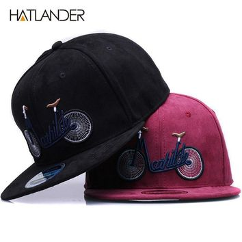 Trendy Winter Jacket [HATLANDER]2018 new casual suede baseball caps for men women embroidery bicycle flat bill hip hop hats girls boys snapback cap AT_92_12