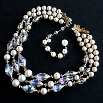 Vintage Pearl u0026 Crystal Necklace - Triple Strand Faux Pearl Aurora Borealis Bead Costume Jewelry Signed & Shop Vendome Crystal Necklace on Wanelo