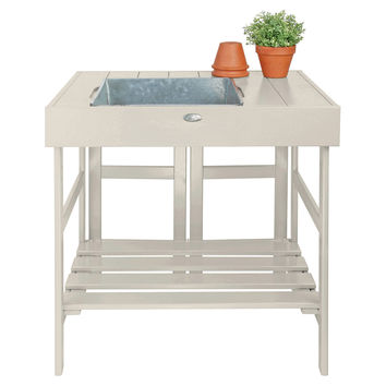 """32"""" Potting Table, White, Gardening Tools & Markers"""