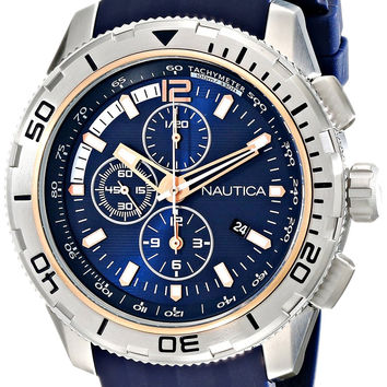 Nautica Men's NAD19505G NST 101 Stainless Steel Watch with Blue Band