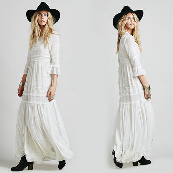 Women boho dress 2016 Bohemian Long maxi Dress Embroidery Black white dress With Long Sleeve Female chic vestidos brand clothing