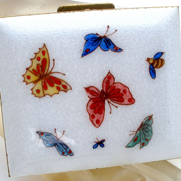 Vintage White Lucite Compact with Enamel Butterflies