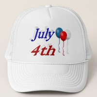 July 4th Red White Blue Balloons 3D Hat