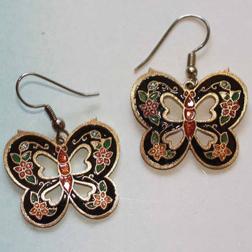 Enamel Butterfly Earrings Cloisonne Florals Dangle 1928 Jewelry Company