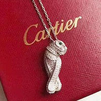 Cartier Fashion new leopard pendant necklace women Silver