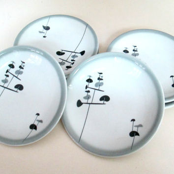 1960s Shenango China Set of 6 Dishes Atomic Gray Black RimRol WebRoc Dessert Salad Plates