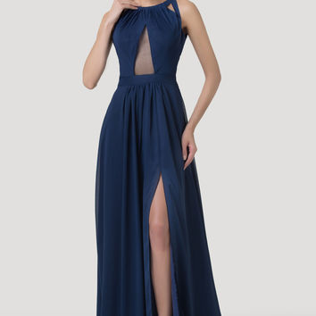 Navy Blue Halter Mesh Cutout Strappy Cross Back Flounce Slit Maxi Dress