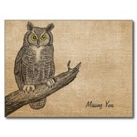 Burlap Vintage Owl Missing You Postcard from Zazzle.com