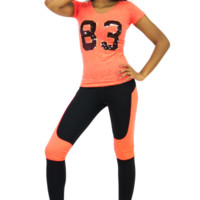 Colorblocked Neon Coral Accent Athletic Performance Leggings | Danice Stores