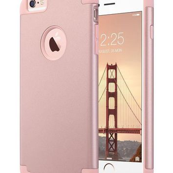 DCCKRQ5 iPhone 6 Plus Case, iPhone 6S Plus Case, ULAK Slim Dual Layer Scratch Protective Case Fit for Apple iPhone 6 Plus (2014) / 6S Plus(2015) 5.5 inch Hybrid Hard Back Cover and Soft Silicone-Rose Gold