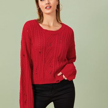 Drop Shoulder Ripped Cable Knit Sweater