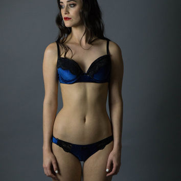 Night Sky Bra and Panty Set, Bra and Panties, Blue Bra and Panty Set, Velvet Bra and Panty, Lace Bra and Panty, Blue and Black Bra and Panty