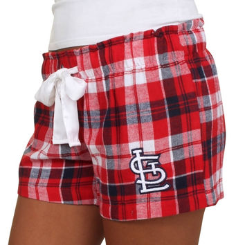 St. Louis Cardinals Women's Flannel Plaid Shorts – Red