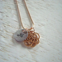 Rose Gold Hand Stamped Necklace With Initial Charm Personalized Customized