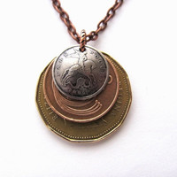 Layered Coin Necklace, Mixed Metals Pendant, Canada, Ireland, Russia, Eco-Friendly Jewelry By Hendywood
