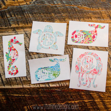 Lilly Pulitzer Monogram Decal or Sticker - Seahorse, Jellyfish, Whale, or Sea Turtle. Many sizes and styles!