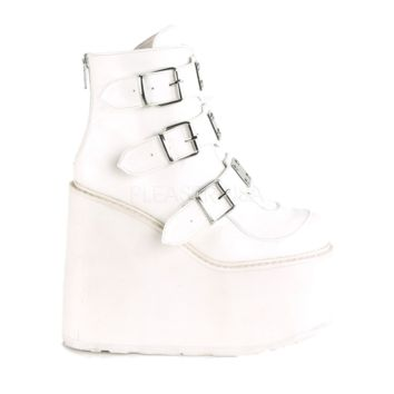 White Vegan Leather Platform Ankle Boots with Chrome-Plated Straps