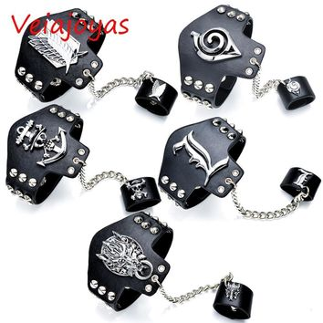 Cool Attack on Titan Cosplay Jewelry Death Note Naruto Final Fantasy  Leather Bracelets Anime Luffy Punk Bracelet Bangle Women Gifts AT_90_11