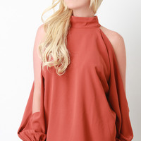Mock Neck Open Sleeve Top