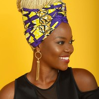 African Print Head Wrap/Scarf (Purple/Yellow)