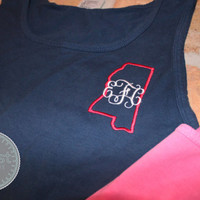 Monogrammed State Comfort Colors Tank