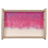 Abstract Beach Drapes Design Serving Tray
