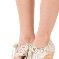 Cream Embellished Wedge with Lace Detail
