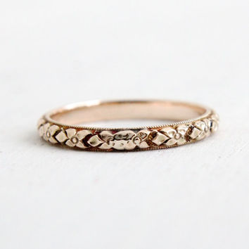 Antique 10k Yellow Gold Wedding Band Ring - Art Deco 1930s Wedding Engagement Stacking Eternity Floral Orange Blossom Fine Jewelry