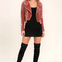 Like Lovers Rusty Rose Velvet Moto Jacket
