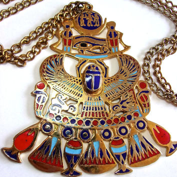 King Tut Multi Color Enamel Pendant Necklace, Egyptian Pectoral Solar & Lunar Emblems, Vintage