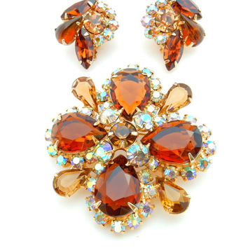 Amber Topaz, Brooch and Earrings, Unsigned Juliana, Aurora Borealis, MId Century, Autumn Colors, Demi Parure