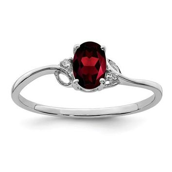 Sterling Silver Garnet Oval and Diamond Ring