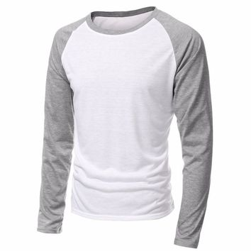 2018 Spring Brand Clothing Men's Long Sleeve Round Neck T-shirts Casual Baseball Tshirt Men Raglan Tee Streetwear Plus Size 4XL