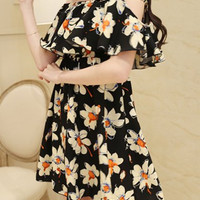 Black Floral Print Cut Out Chiffon Dress