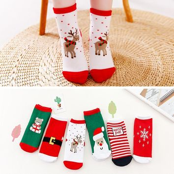 Newest Red Green 6 Pairs Cute Lovely Christmas Deer Santa Printed Cartoon Casual Socks Unisex Cotton Kids Socks Dropshipping 3T