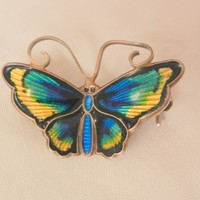 Gorgeous small David Anderson sterling Norway enamel blues Butterfly Brooch