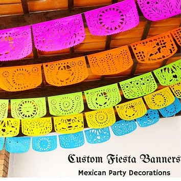Mexican Party Decorations, Papel Picado Personalized colors fiesta garland Over 50 feet long SB114