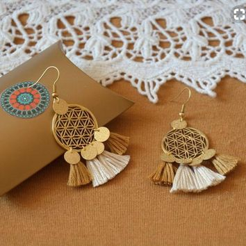 Golden Flower Of Life Tassel Earrings