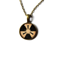 Fallout jewelry Radiation necklace Post-nuke pendant Antique style n227
